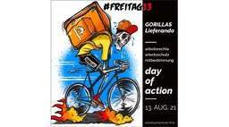 #Freitag13 gegen Gorillas & Lieferando. Aktionstag für Arbeitsrechte am 13. August 2021