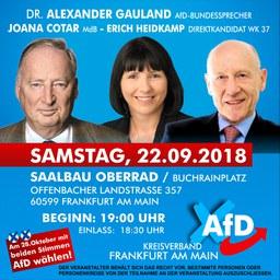 Gauland & Co. am Samstag in Frankfurt!