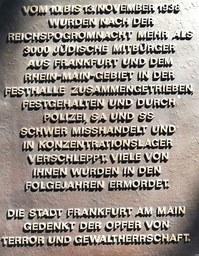 Gedenken an die Opfer der Pogrome in Frankfurt vor 81 Jahren