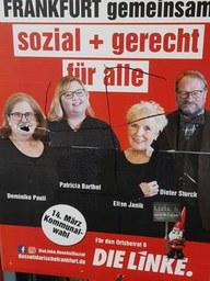 Nazi-Schmierereien auf Plakaten der LINKEN.